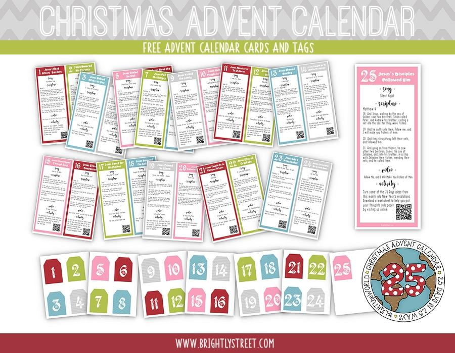 Christmas Advent Calendar Tags and Cards #LIGHTtheWORLD