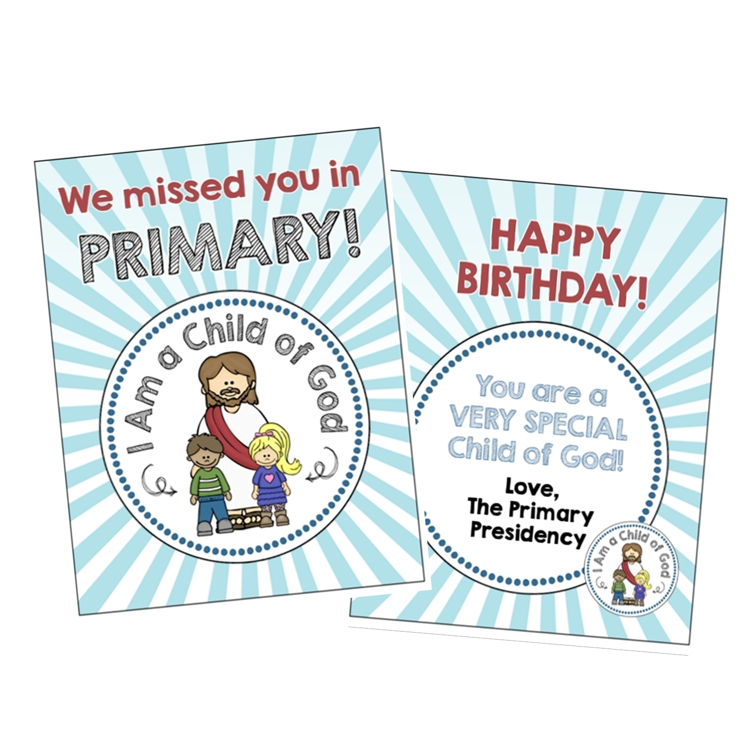i am a child of god birthday and miss you cards instant download