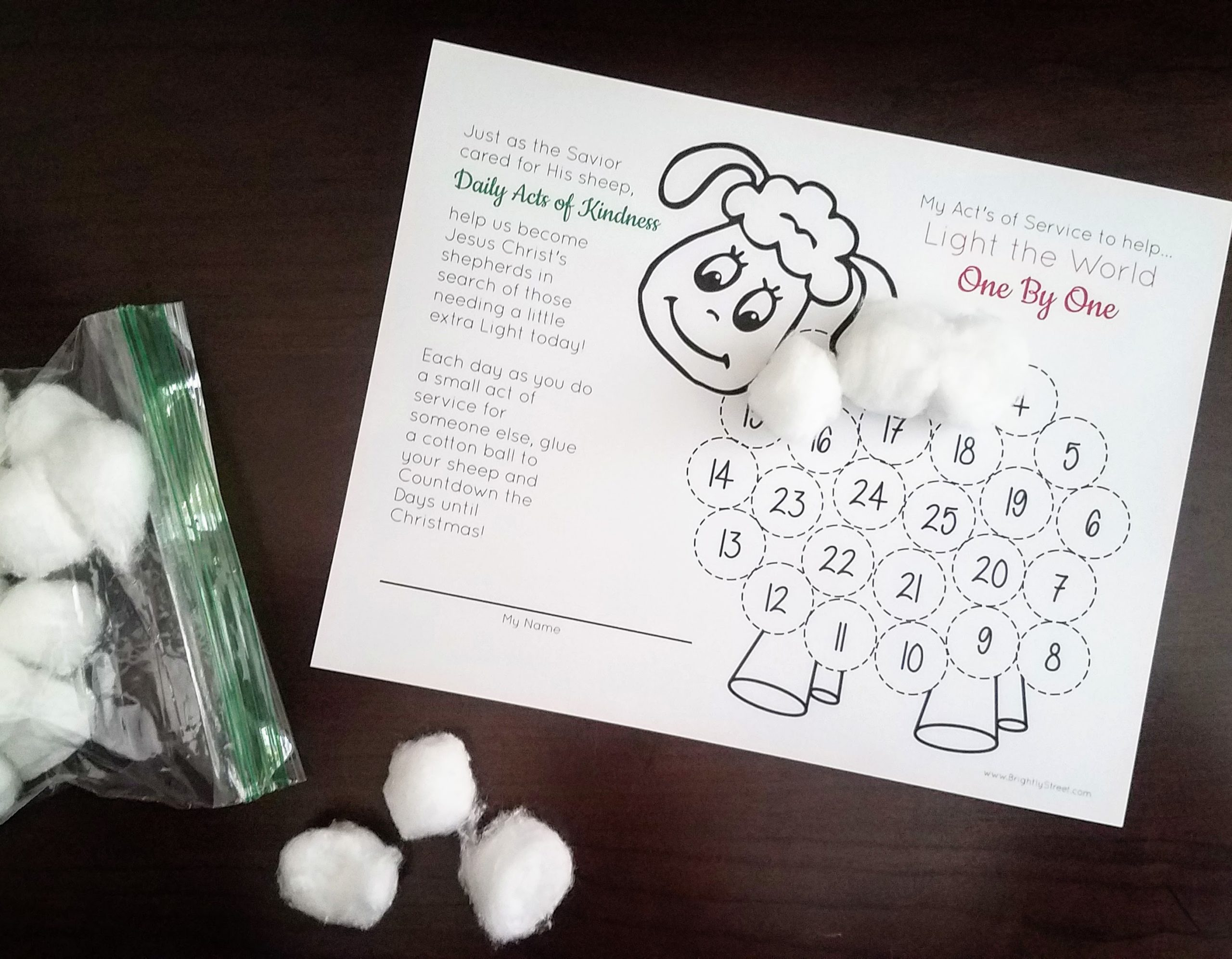 Light the World One By One Kid-Friendly Service Printable Idea